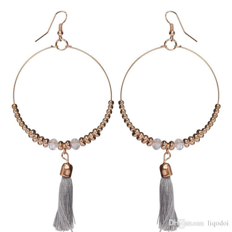 Nuovo arrivo classico bohemien ciondola orecchini nappa design orecchini bella forma rotonda grande ciondola gioielli le donne