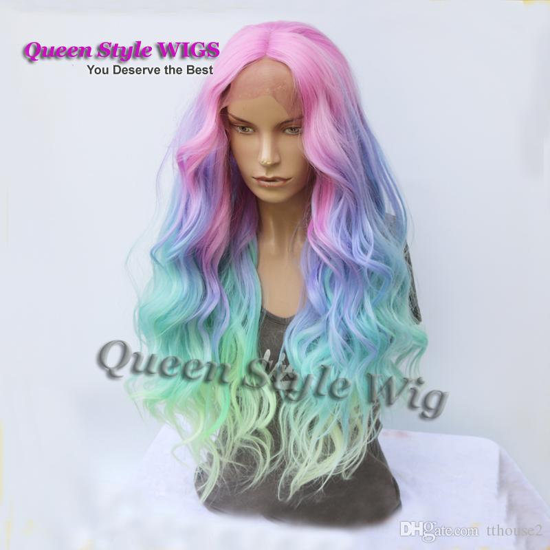 Mermaid Pastel Rainbow Hair Wig Synthetic Rainbow Color Pink purple/ Blue/ Fluorescent Green Ombre Hair Lace Front Wig Mermaid Cosplay wigs