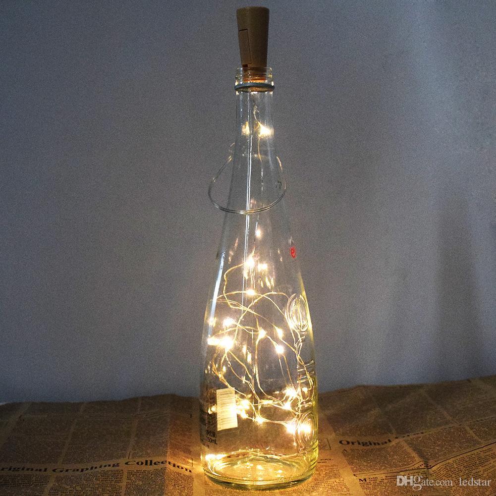 1 M 10LED 2 M 20LED Lâmpada Rolha De Garrafa Em Forma de Rolha de Vinho de Vidro Luz LED Fio de Cobre Luzes Da Corda Para Festa de Natal de Casamento Halloween