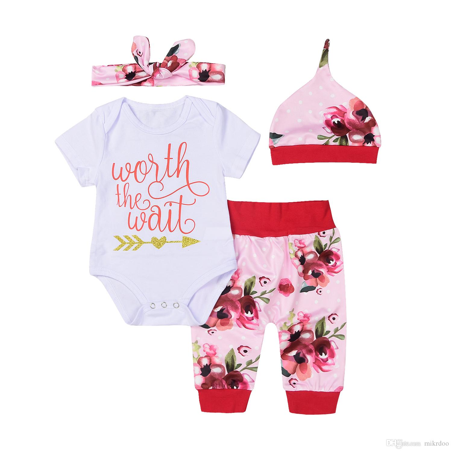 Mikrdoo Lovely Infant Baby Girls Clothes Worth The Wait Funny