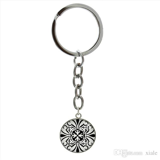 Pion Spiral Round image key chains charm colored repeating decimals spiral round Pion art picture keychain math symbol Pi