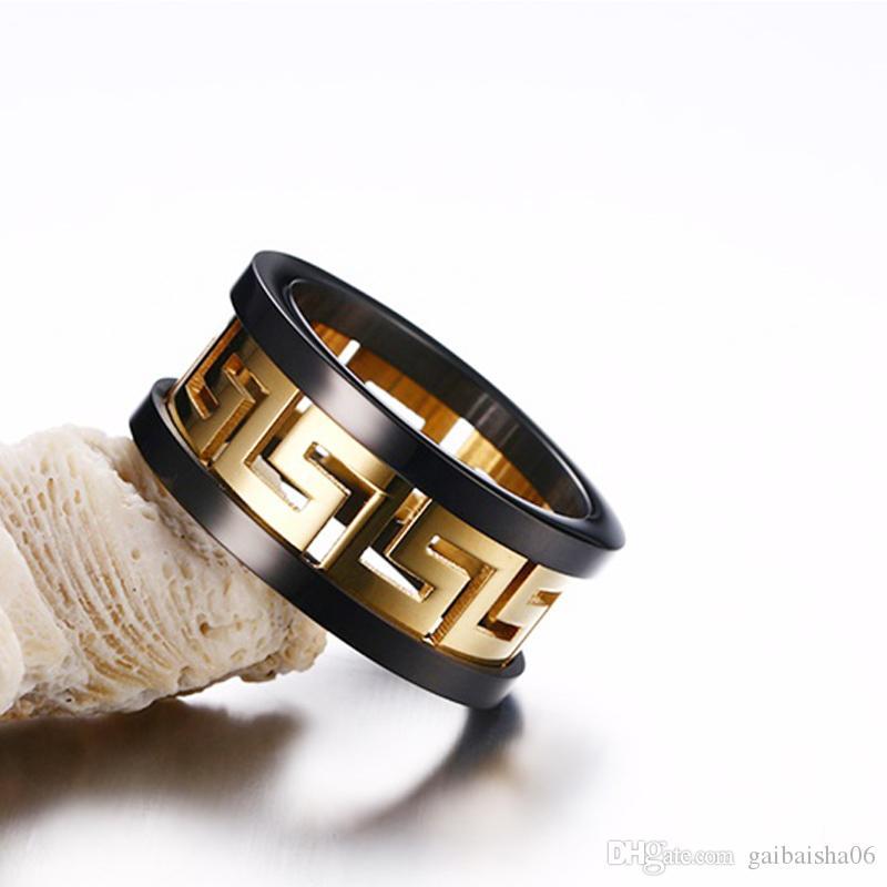 Модные Греческие Ключные Кольца Ювелирные Изделия Мужское Титановое Стальное Золото-Цветное кольцо с высокополированным Черным Акцентным кольцом R-170
