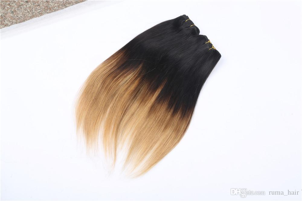 Cabelo Humano 100% brasileira Virgin Stiraight Ombre 1b 27 Hair Extension 3 Pacotes de dois tons mel loira extensão do cabelo