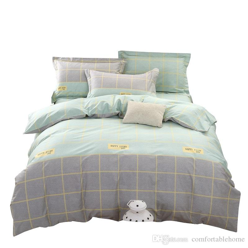 Bedding Striped Bed Sheets Home Textiles Blue Elegant Fashion Cotton