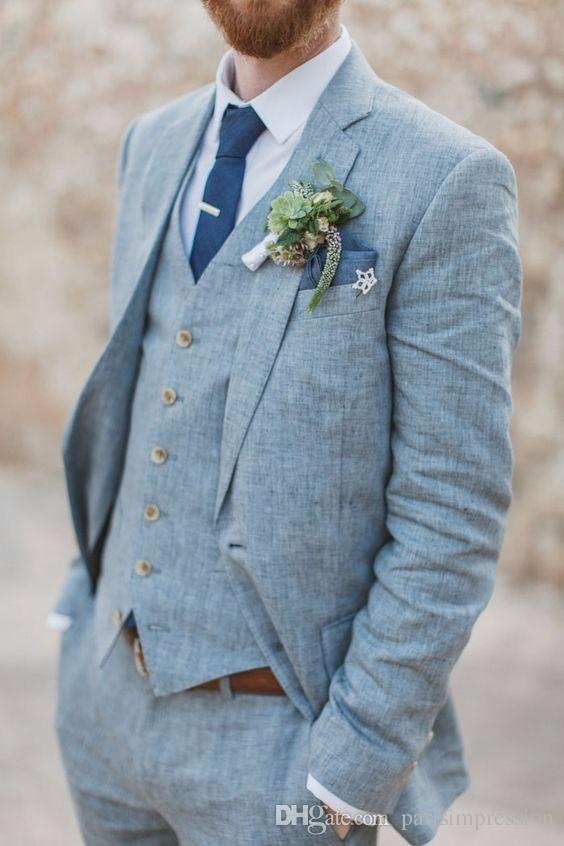 Light Blue Linen Men Suits For Beach Wedding Groom Tuxedos Groomsman ...
