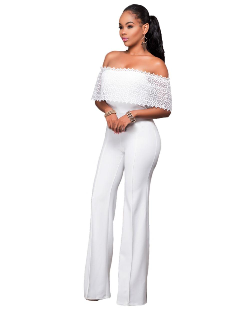 d8862ca5868 2019 Wholesale Women Ruffles Lace Party Jumpsuit Sexy Black White Off  Shoulder Wide Leg Long Playsuit Fashion Side Zipper Macacao Feminino From  Vanilla03