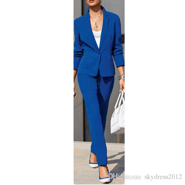 newest 643a5 dc603 Pantalone donna adatto al completo blu della PROM. Vestito della signora  del vestito convenzionale dell ufficio di affari cappotto pantaloni sexy  Prom ...