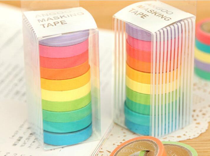 2016 Nuovo 10 pz / lotto Nuovo Arriva Arcobaleno Washi Sticky Carta Masking Adesivo Scrapbooking Decorativo Nastro FAI DA TE