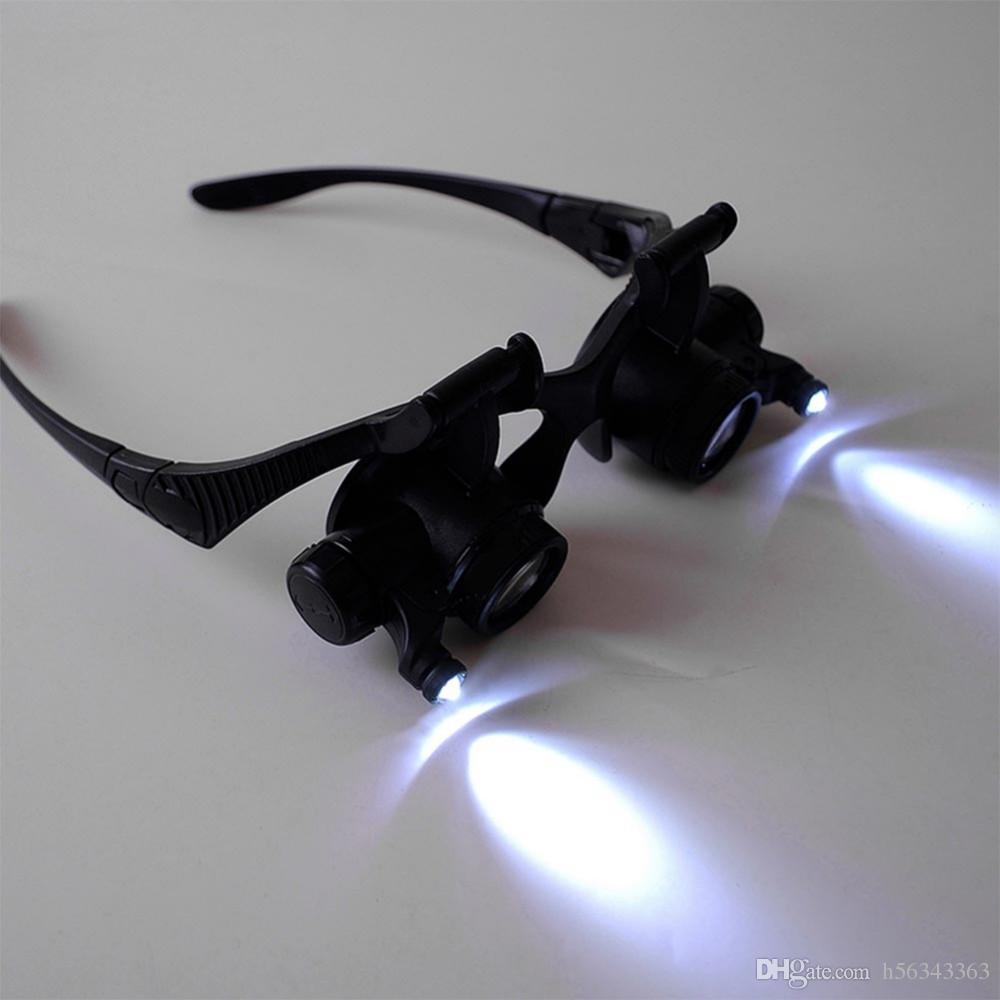 1x Brillen Typ Lupe 10X 15X 20X 25X Augenschmuck Uhrmacher Lupenbrille Mit 2 LED Leuchten Neues Lupenmikroskop