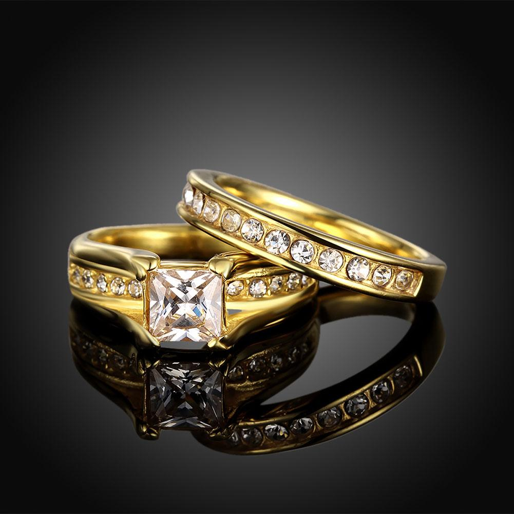 Amazing 18K Yellow Gold Plated Rings Jewelry Big Zircon with Full Stones Shiny Ladies Finger Rings For Party/Wedding
