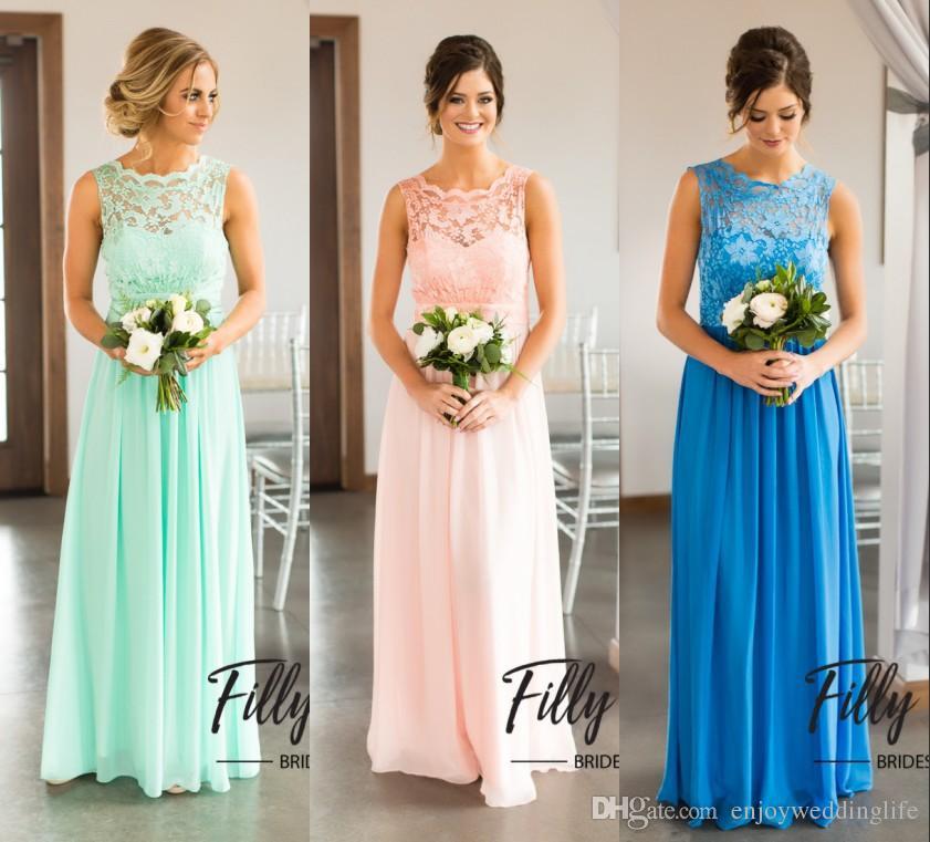 Compre Estilo Country Vestidos De Dama De Honra 2018 New Mint Uma Linha  Chiffon Lace Backless Maid Of Honor Vestidos Baratos Wedding Party Dress De  ... 7fe1f4106a4d