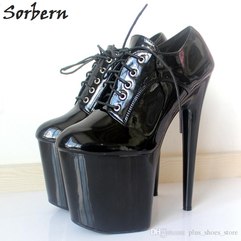 Sorbern 2018 Femmes Chaussures Discothèques Super Haute 20Cm Spike Talons Plate-forme Stiletto Chaussures À Lacets Sexuel Fétiche Dance Party Pompes Plus de couleurs