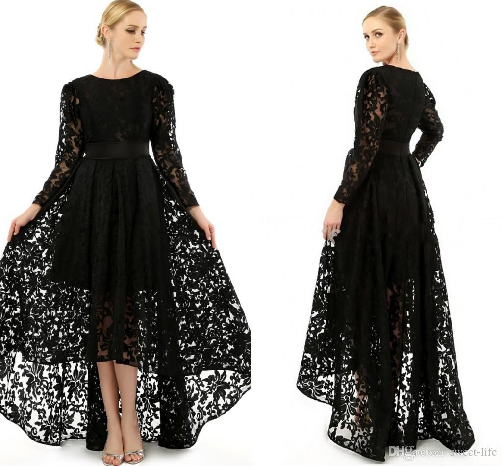 Elegant Black Long Sleeve Plus Size Special Occasion Dresses Crew ...