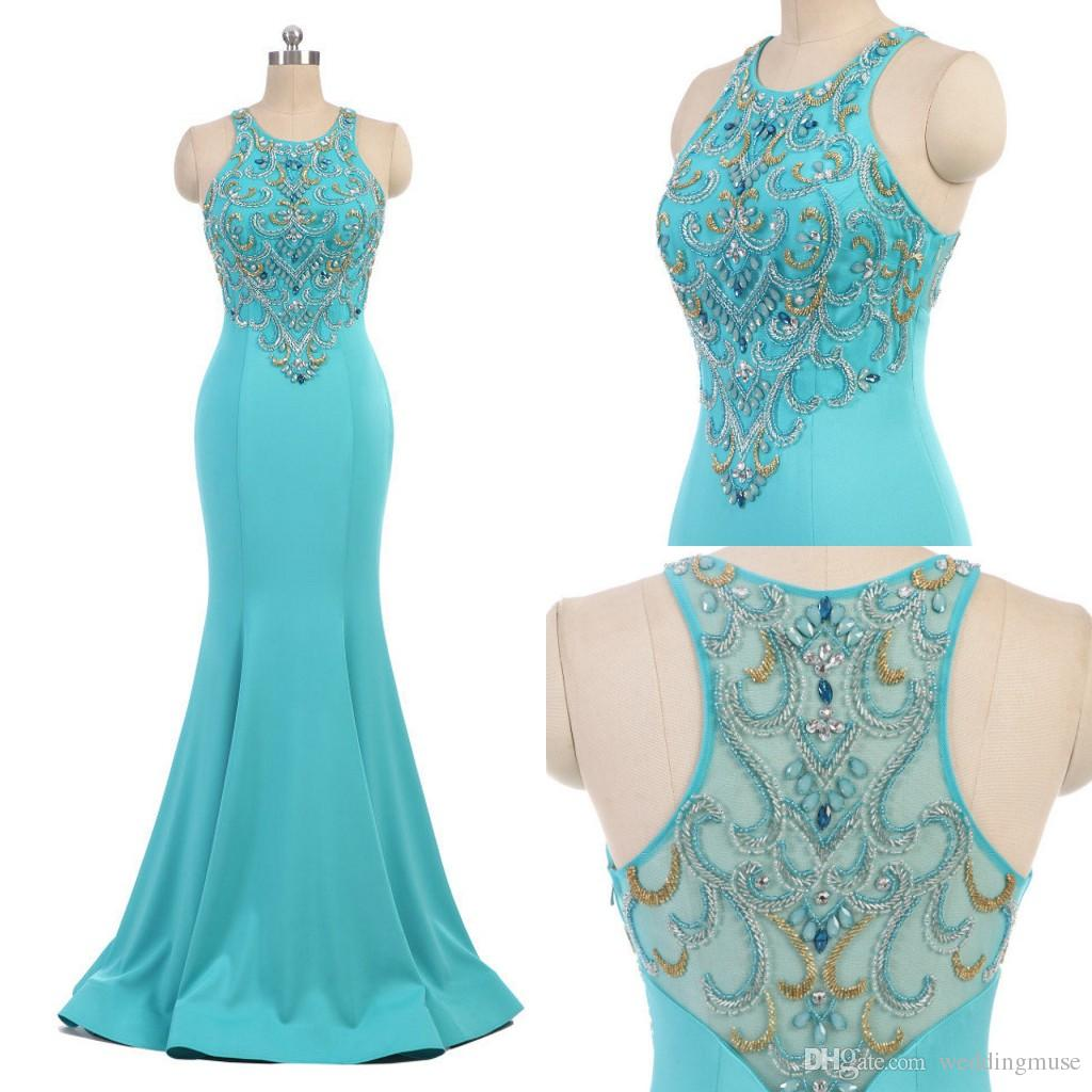 Luxury 2019 Real Formal Dresses Evening Heavy Crystal Beading Sexy Jewel Sleeveless Mermaid Formal Plus Size Prom Dresses Gown