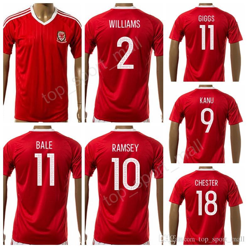Welsh Jersey 2017 2018 Fútbol 11 Ryan Giggs Camiseta De Fútbol Hacer Equipo  Nacional Personalizado 11 BALE 10 RAMSEY 9 VOKES 2 WILLIAMS Calidad  Tailandesa ... 7477d2134