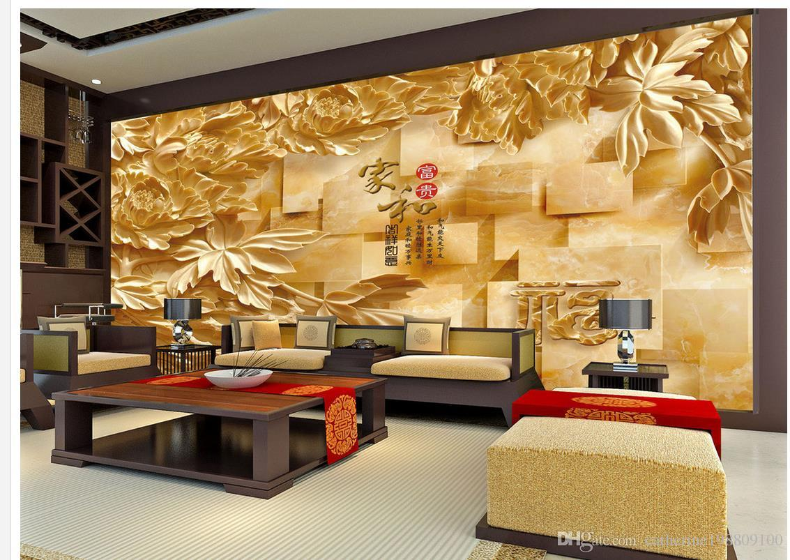 Wood Wall Mural 3d wood carving marble stereo tv wall mural 3d wallpaper 3d wall