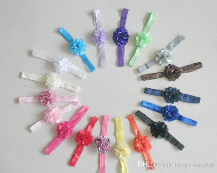 menina Boutique mini-2 flores polegada de seda colado faixa de cabelo cetim cabelo malha com Iridescent magro brilho Headbands 18 SG8517 cor