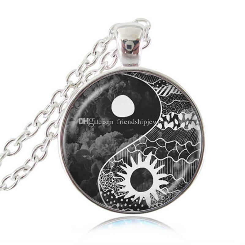 Yin Yang Sun And Moon Pendant Necklace Tai Chi Jewelry Glass