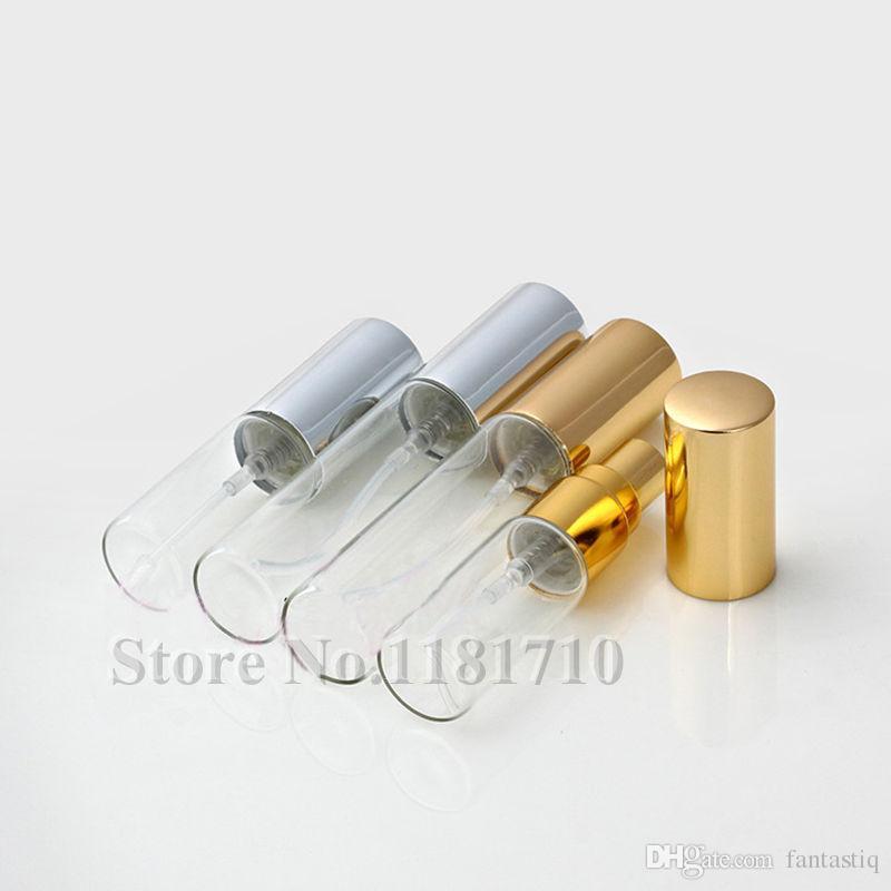 5ML 10ML الزجاج الشفاف رذاذ زجاجة فارغة واضحة لإعادة الملء العطور البخاخة مع الذهب الفضة كاب المحمولة عينة قوارير الزجاج