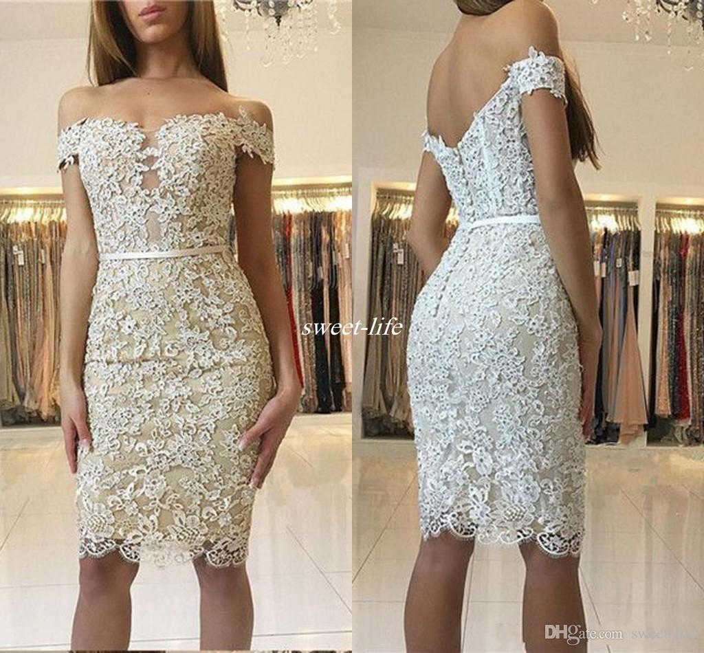 aa2199ca0eb66 Sexy Short Cocktail Dresses with Champagne Lining Off Shoulder Sheath Lace  Beaded 2017 Party Queen Night Club Dress Gowns for Homecoming