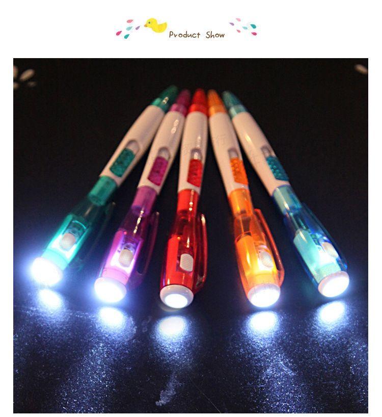 Korea cute creative stationery novel with led flashlight multi-function ball-point pen free