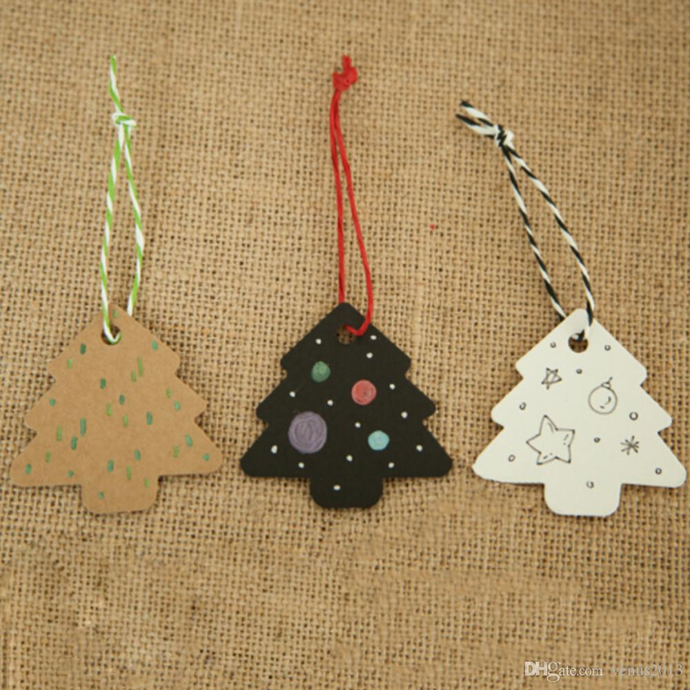 DIY Kraft Christmas Tree Shape Hang tag Christmas Party Deco Paper Cards Gift tag