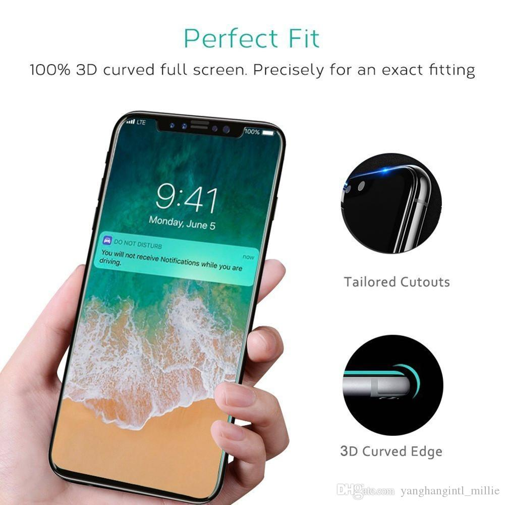 For Iphone X Full Cover Tempered Glass Screen Protector 3D Soft Edge Color Protector for Iphone 6 7 8 Retail Package Factory Ship--YH0311