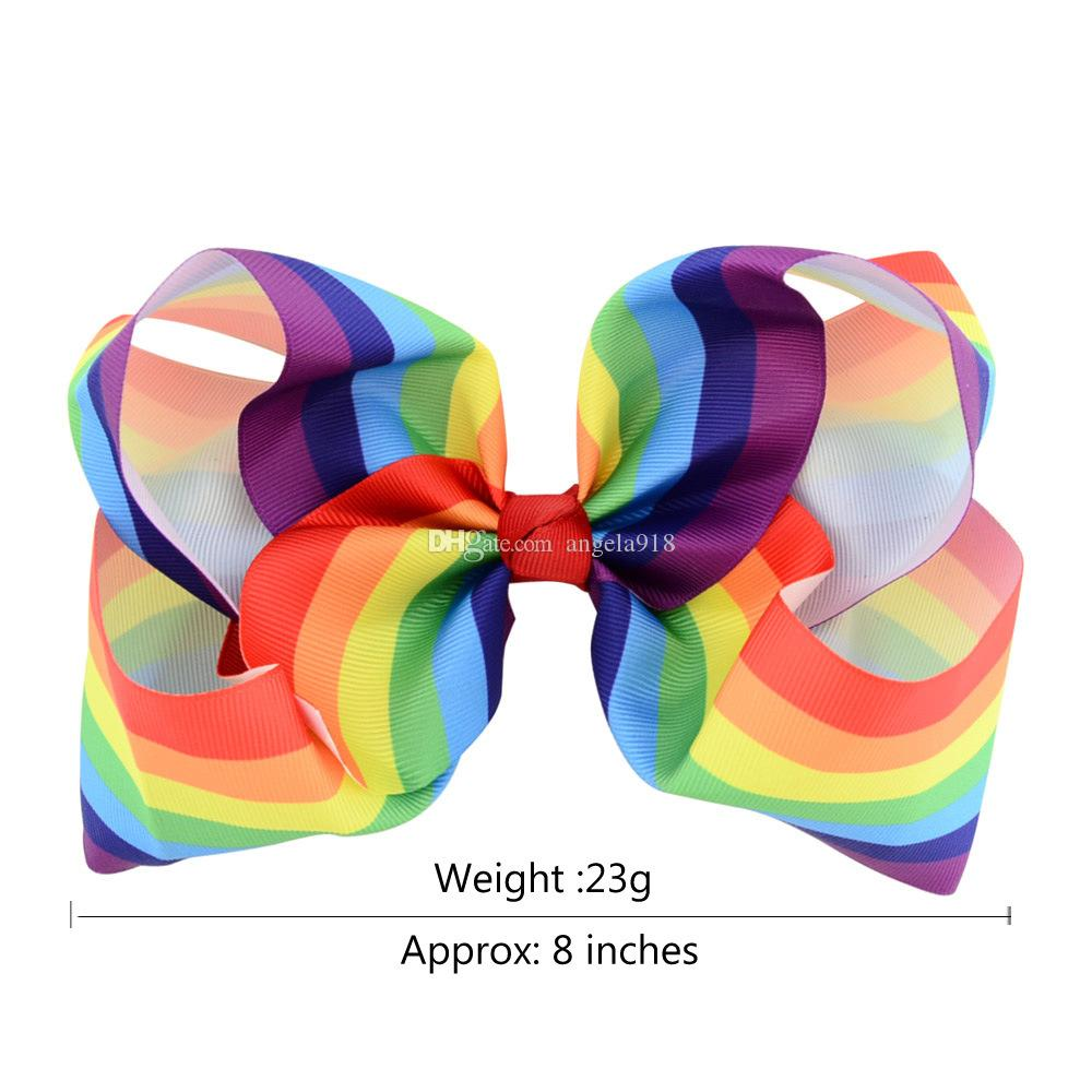 Kids Baby Gradient color rainbow Hairpin 2017 new kids Hair Accessories Childrens Bow Barrettes 20cm/8 inches C2124
