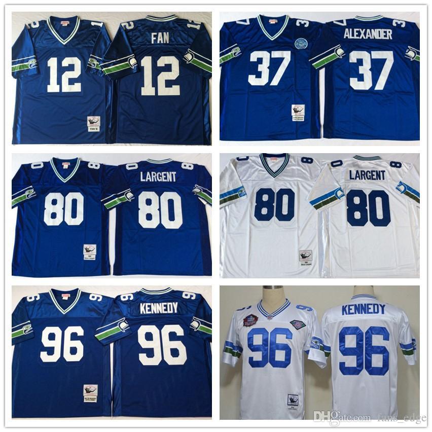 the latest 91694 93314 Retro Mens 12 Fan 37 Shaun Alexander 80 Steve Largent 96 Cortez Kennedy  Home Away Stitched Vintage Blue White Football Jerseys