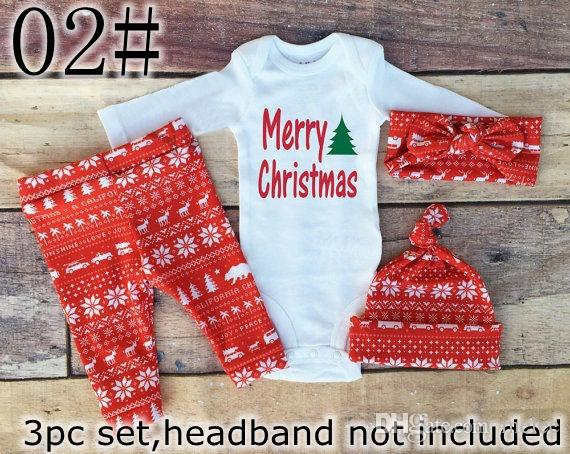 2017 New Boys Girls Xmas Hello World Letter Romper tops & baby ins Pants & infant white caps hats Baby Outfits Set 0-2year
