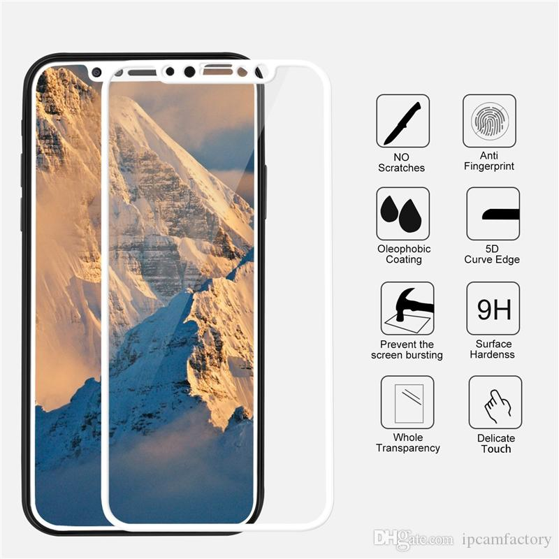 New For Iphone X 5d Curved Tempered Glass Black White Hd Tempered ...