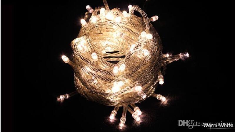EM ESTOQUE EUA UE 10 M 9 cores À Prova D 'Água LEVOU Cordas Do Feriado luz Festa de Casamento de Natal Festival Twinkle Decoração lâmpada Bulbo 220 V / 110 V