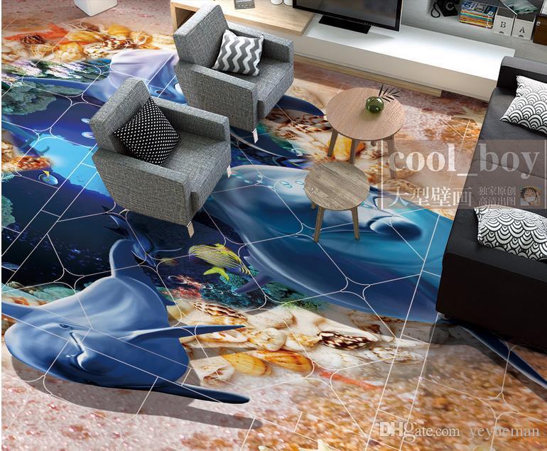 wallpaper for walls 3d floor wallpaper murals custom 3d photo Dolphins heart shaped she self adhesive wallpaper 3d vinyl flooring waterproof