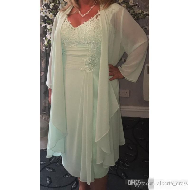 Mint Green V Neck Column Short Mother of the Bride Dresses with Wrap Plus Size Casual 2019 Chiffon Evening Gace Tea Length