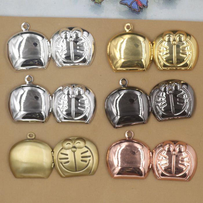 24*26mm Silver/antique bronze/rose gold/black gun doraemon jingle cats photo locket charms jewelry, metal picture frame pendants wish box