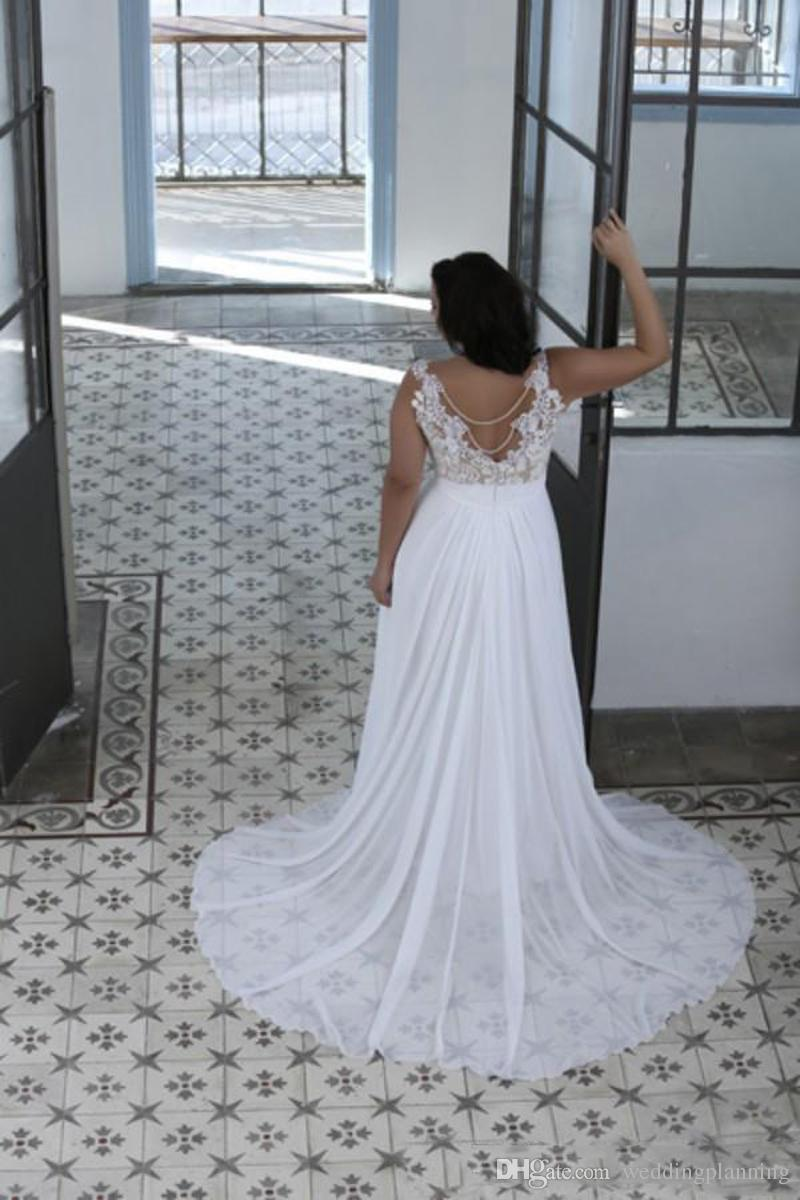 Plus Size Wedding Dresses Fat Women Sweetheart Sheer Bateau Neck Beach Lace Top Bridal Gowns White Nude Cheap High Quality Brides Dress