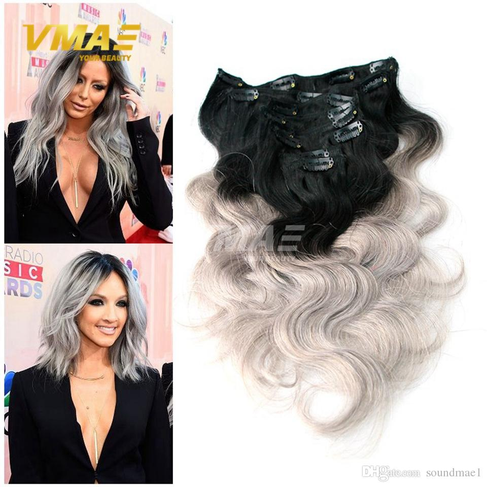 Ombre Brazilian Clip In Human Hair Extensions Body Wave Silver Grey