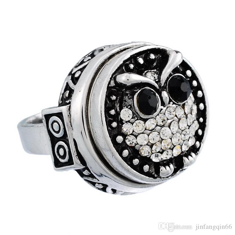 Fashion Alloy Ginger Snap Button Rings Wholesale Vintage Noosa Rings Jewelry With Flower Pattern Around Snap Button Rings