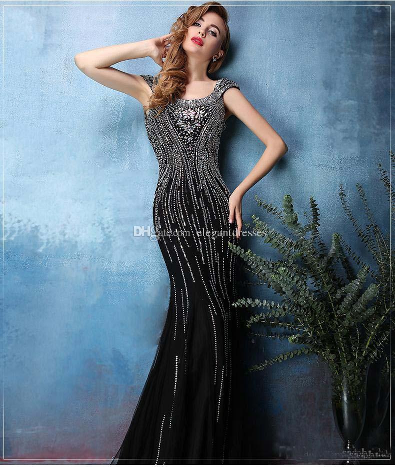 2021 Elie Saab-schwarze Perlen-Nixe-Abschlussball-Kleider lang mit U-Ausschnitt Backless Kristallabendkleider Vintage Short Sleeve Trompete Satin-Partei-Kleid