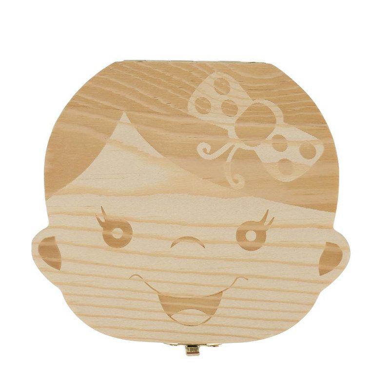 Tooth Box New Organizer For Baby Milk Teeth Save Wood Storage Box For Kids Boy & Girl