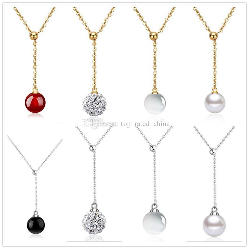 Mode 925 Sterling Argent Plaqué Or Agate perle Shambala Ball Collier Diamant Cristal Disco Perles Choker Collier
