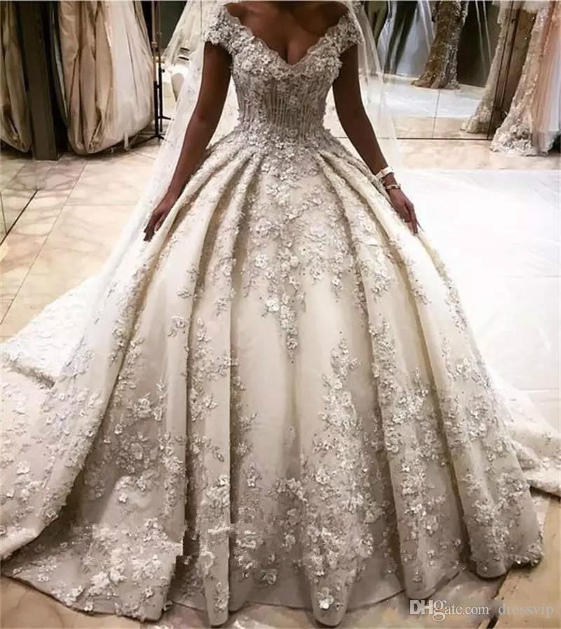 Princess Style Wedding Gowns: Queen Princess Style Wedding Dresses 3D Flower Appliques