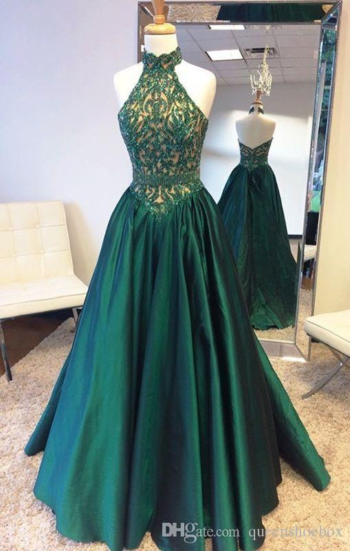 2017 Real Image Hunter Green A Line Formal Evening Dresses Halter Neck Floor Long Backless Modest Plus Size Prom Pageant Gowns Cheap Vestido