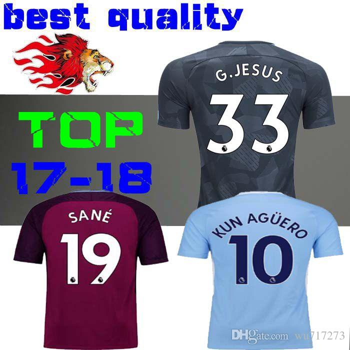 a297dcb71 ... NEW 2017 2018 men City Home Away Soccer jersey 17 18 third KUN AGUERO  KOMPANY Bernardo ...