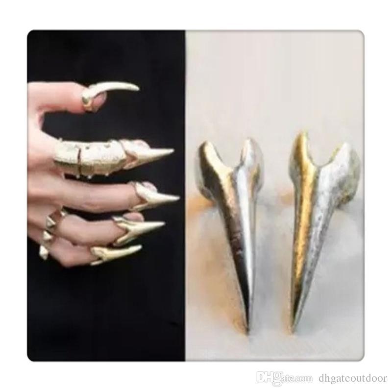 Comercio al por mayor Nail Art Decoration Finger Tip Anillos Gothic Punk Rock Style Talon Spike Claw Plateado Plata Metal Chica Joyería de Las Mujeres Garra Libre de DHL