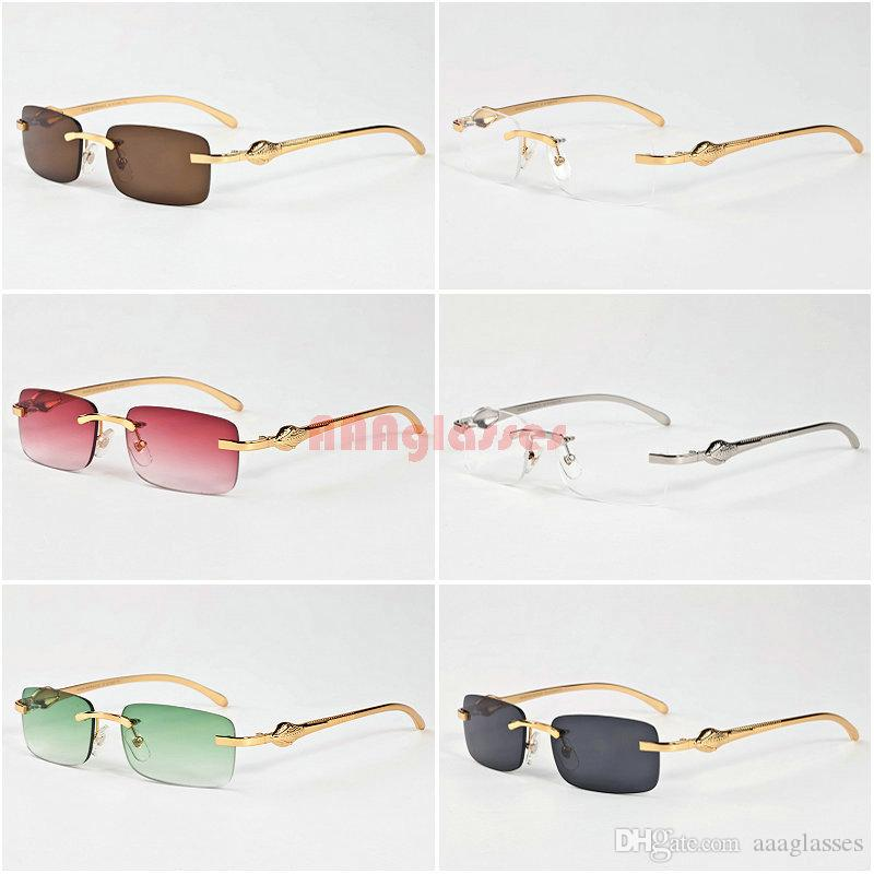 5e1b3546474 Classic Men Women Rimless Sunglasses Vintage Brand Designer Leopard Head  Gold Meal Frames Optical Eyewear Buffalo Horn Sun Glasses Serengeti  Sunglasses Sun ...