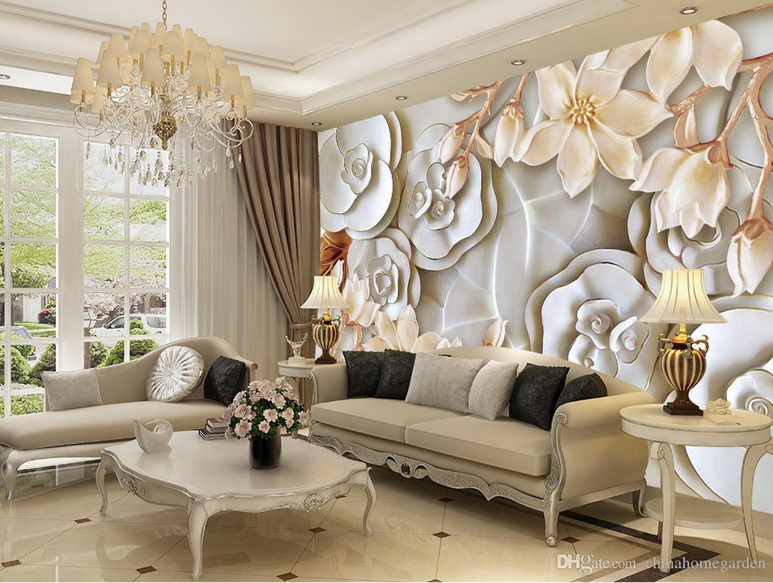 Custom any size 3d embossed rose magnolia tv wall mural 3d see larger image amipublicfo Gallery