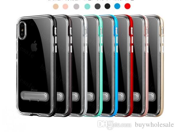 Transparent Kickstand PC TPU Case For Samsung s8 s8plus For Iphone 8 7 6s Plus Clear Armor Cover Colorful Bumper Case With Stand