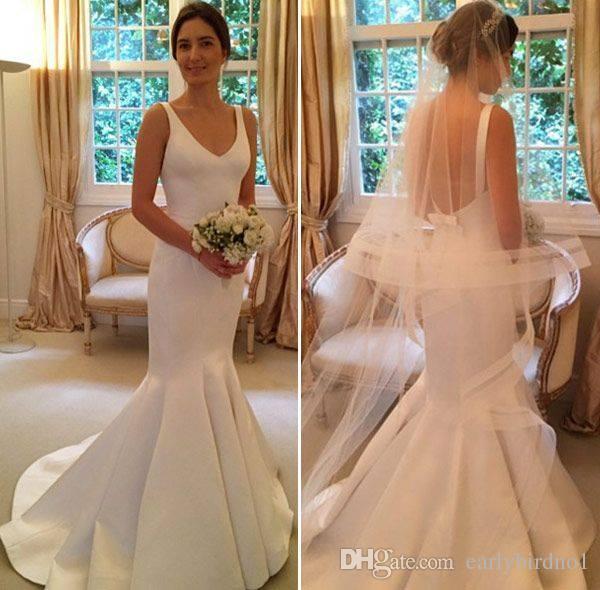 Neue Ankunft Eleganter V-Ausschnitt Meerjungfrau Brautkleider 2017 Frühling Sommer Ärmellose offene Rückenhochzeit Hochzeit Brautkleider Benutzerdefiniert gemacht