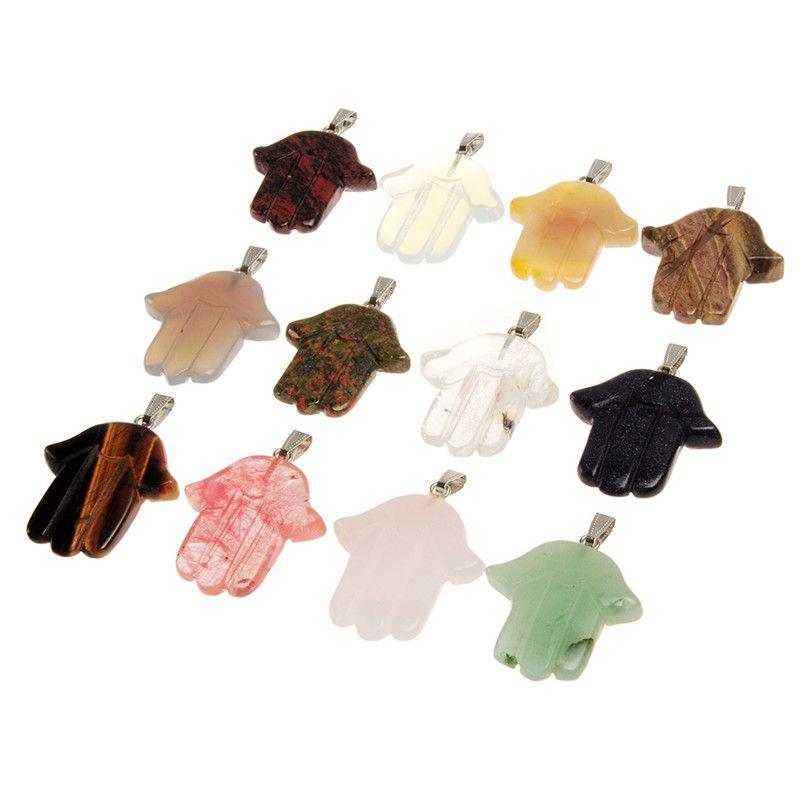 Opal Hamsa Fatima Hand Amulet Judaica Charms Perline Misto Colore casuale Pietre naturali Agata Jade Crystal Jasper Pendant Israele Gioielli ebraici